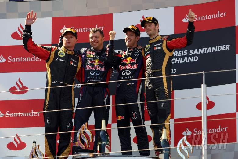 07.07.2013-  Race, Sebastian Vettel (GER) Red Bull Racing RB9 race winner, 2nd position Kimi Raikkon
