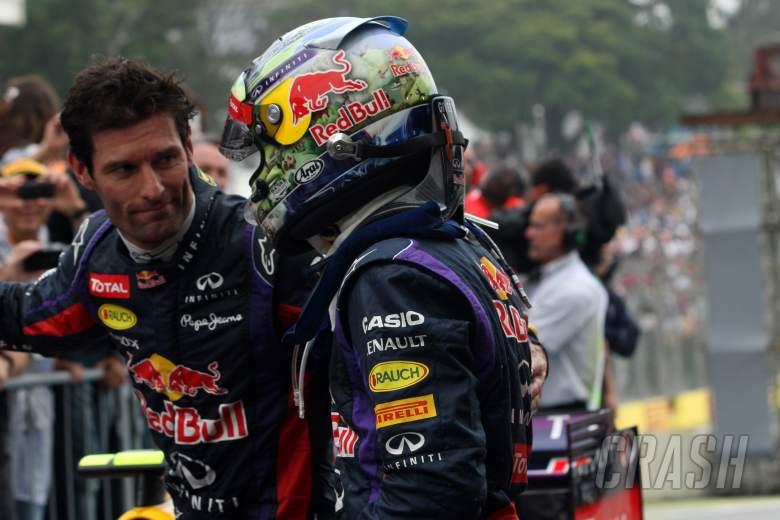 24.11.2013 - Race, Mark Webber (AUS) Red Bull Racing RB9 nd Sebastian Vettel (GER) Red Bull Racing R