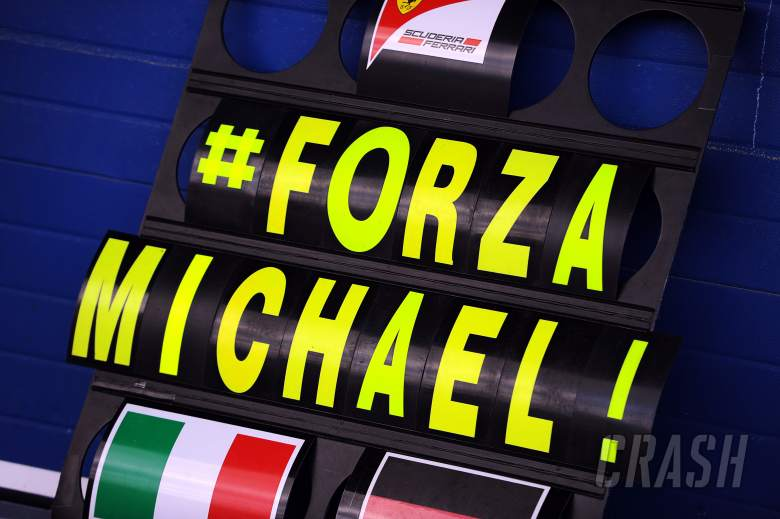 A Ferrari pit board showing support for Michael Schumacher (GER).29.01.2014. Formula One Testing, D