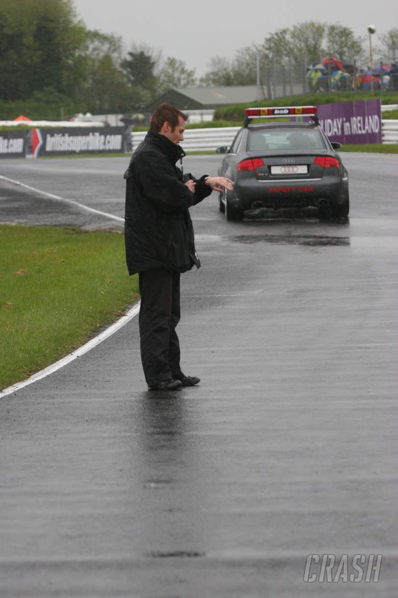 , , race director stuart higgs on track checking conditions to see if the meeting can go ahead mondello