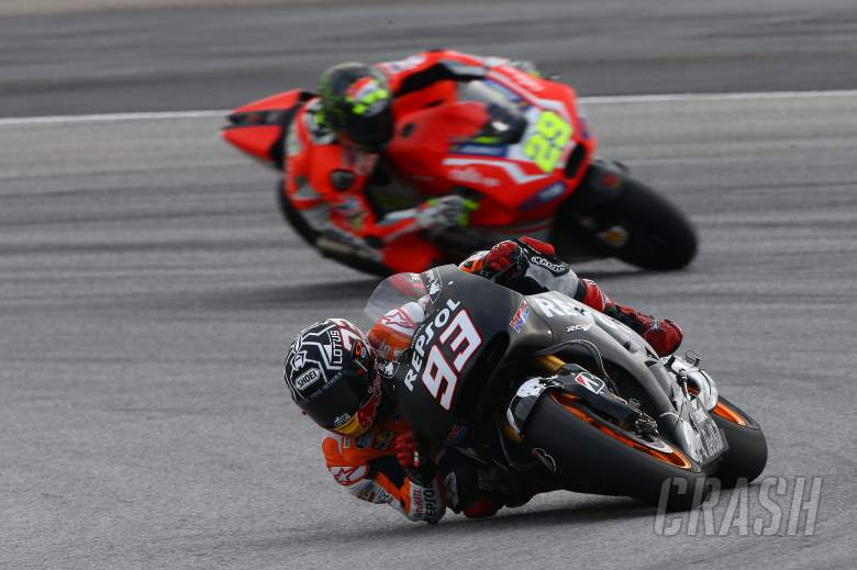 Marquez stick with 'compromise' Honda, unhurt after spill