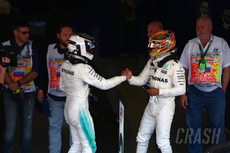 F1: 30.04.2017 - Race, Valtteri Bottas (FIN) Mercedes AMG F1 W08 race winner and Lewis Hamilton (GBR) Me