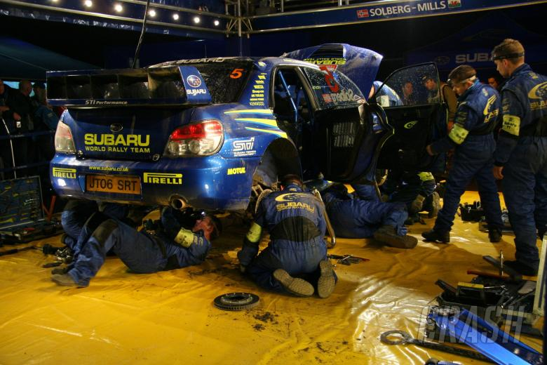 Subaru service area. Wales Rally GB, 1st-3rd December 2006.