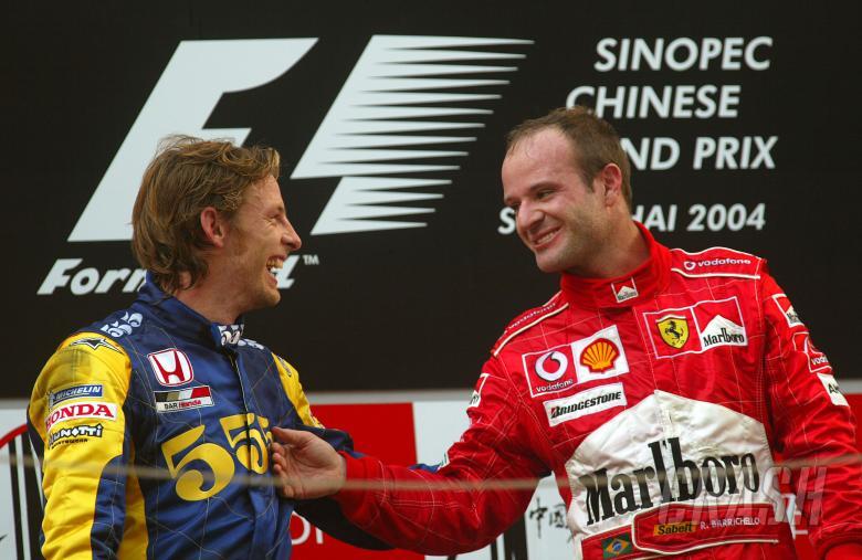 , , Rubens Barrichello jokes with Jenson Button on the Chinese Grand Prix podium