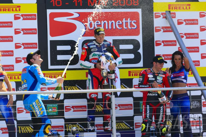 Podium Celebration with champagne, 1st 67. Shane Byrne Airwaves Ducati, Ducati 1098R F08, 2nd 66. To