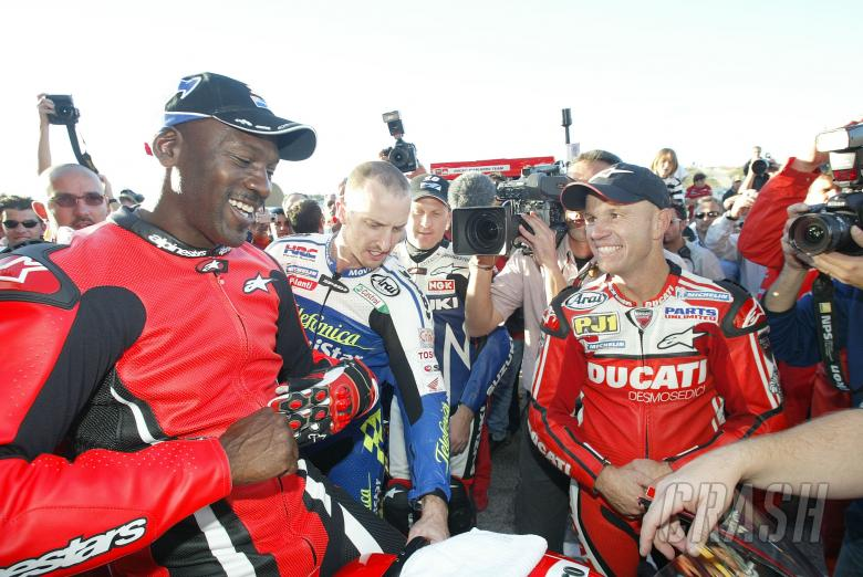 Michael Jordan, Colin Edwards and Randy Mamola, Valencia MotoGP 2004