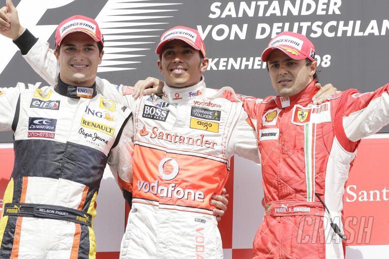 Nelson Piquet (BRA) Renault R28, Lewis Hamilton (GBR) McLaren MP4-23, Felipe Massa (BRA) Ferrari F20