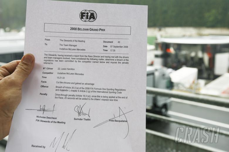 FIA Statement Of Hamilton`s Penalty, Belgian F1 Grand Prix, Spa Francorchamps, 5-7th, September, 200