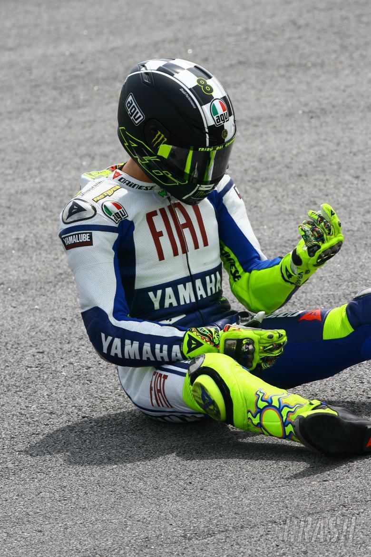 Rossi after crash, Sepang MotoGP tests 2009