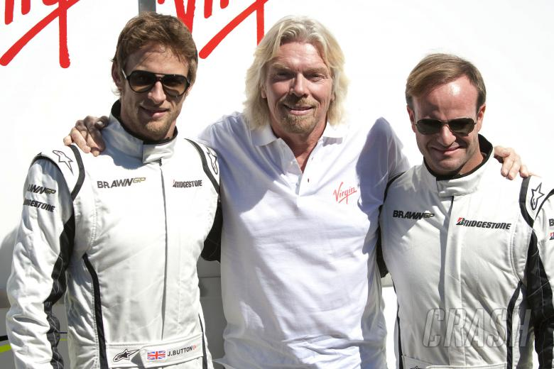 Jenson Button (GBR) Brawn BGP001, Richard Branson (GBR) CEO Virgin, Rubens Barrichello (BRA) Brawn B