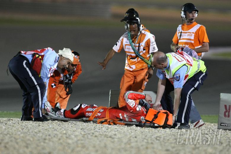Hayden, After crash, Qatar MotoGP 2009