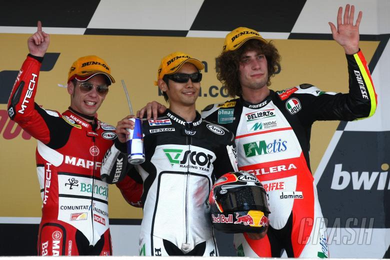 Bautista, Aoyama, Simoncelli, Spanish 250GP Race 2009