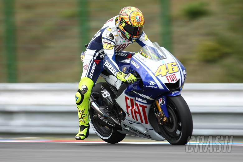 Rossi, Braking, foot out, Czech MotoGP 2009