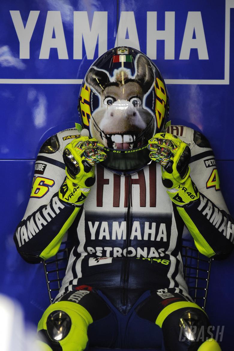 Rossi with Donkey helmet, San Marino MotoGP 2009