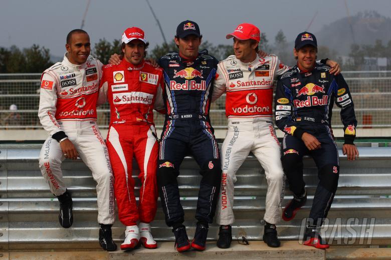 Thursday, The five Championship contenders line up for a photo: Lewis Hamilton (GBR), McLaren  Merce