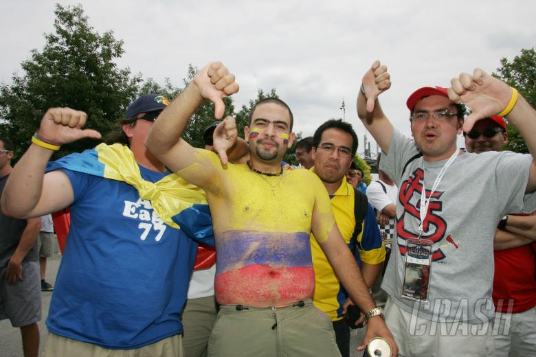 Angry fans show their displeasure after the Michelin teams withdrew from the United States Grand Pri
