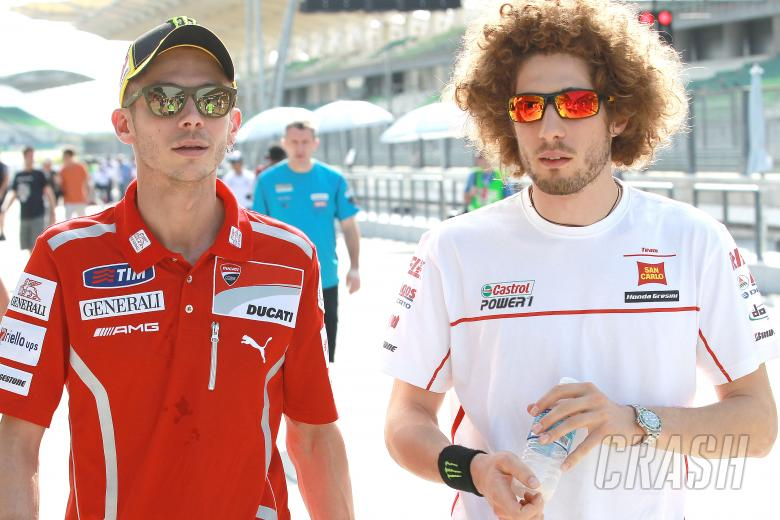 Rossi and Simoncelli, Sepang MotoGP tests, 22-24 February 2011