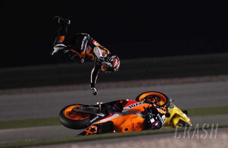 Marquez crash, Moto2, Qatar MotoGP 2011