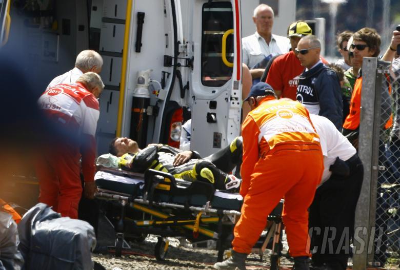 Injured Crutchlow on stretcher, British MotoGP 2011