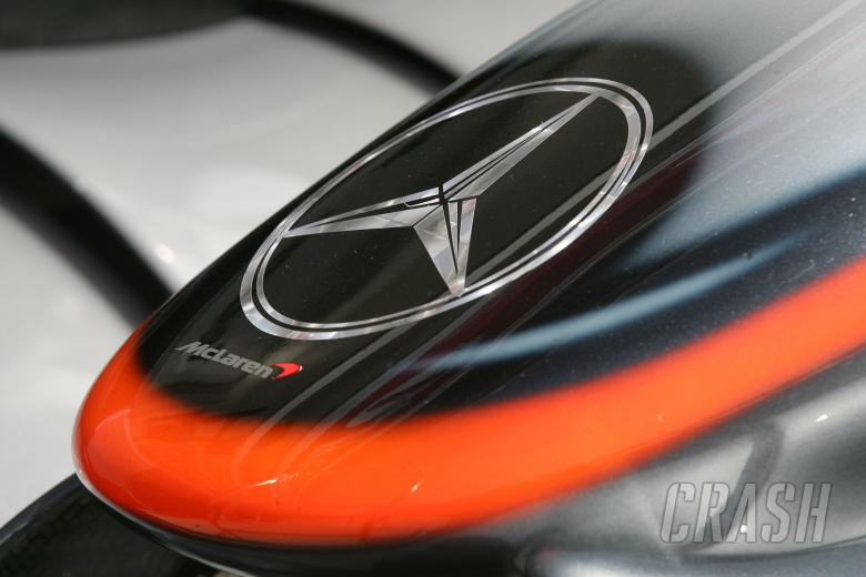 ,  - Mercedes badge on McLaren nose at the Hungarian Grand Prix