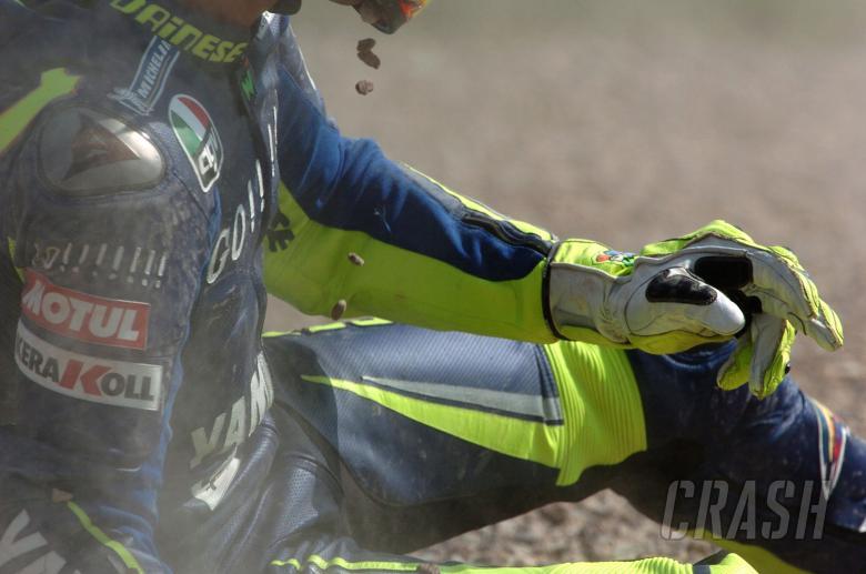 Rossi crash, German MotoGP, 2005