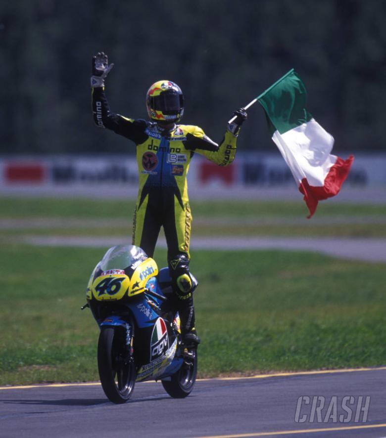 PIC: Valentino Rossi celebrates first grand prix win