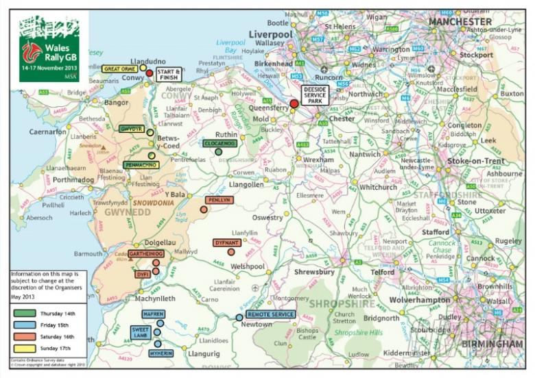 Wales Rally GB 2013 route in detail