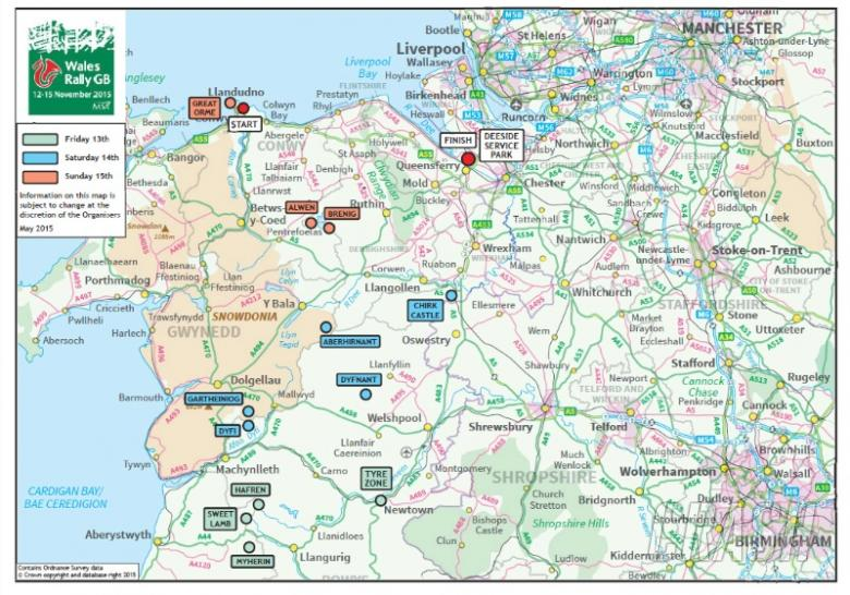 Wales Rally GB 2015 route in detail