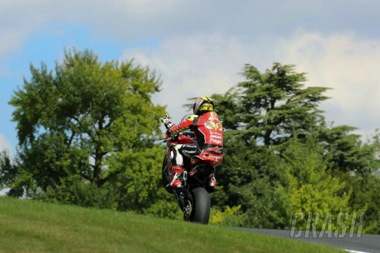 Byrne beams after breaking Cadwell Park duck