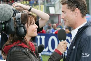 Suzi Perry interviews David Coultard, Czech MotoGP, 2005