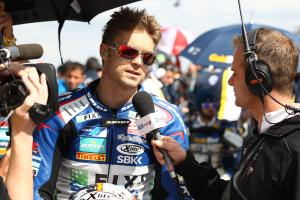 Whitham interviewing Camier for TV, Race 2, Donington WSBK 2012