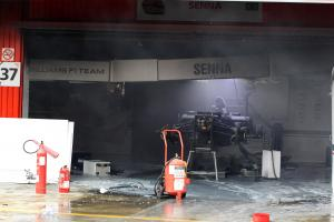 13.05.2012- The destroyed Williams FW34 of Bruno Senna (BRA) Williams after a post race fire in the