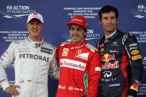 07.07.2012- Qualifying, Fernando Alonso (ESP) Scuderia Ferrari F2012 pole position, 2nd position Mar
