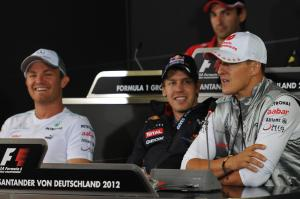 19.07.2012 - Press Conference, Michael Schumacher (GER) Mercedes AMG F1 W03 with Sebastian Vettel (G