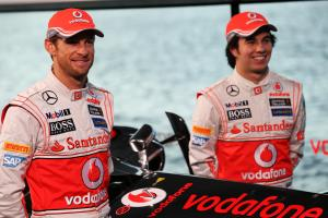 (L to R): Jenson Button (GBR) McLaren with team mate Sergio Perez (MEX) McLaren.31.01.2013. McLaren