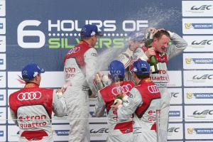 P1 Podium - Tom Kristensen / Loic Duval / Allan McNish Audi R18 e-tron quattro wins