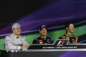 27.10.2013- Press conference: Sebastian Vettel (GER) Red Bull Racing RB9 (race winner), Nico Rosberg