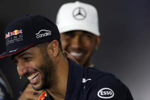 13.07.2017 - Press conference, Daniel Ricciardo (AUS) Red Bull Racing RB13 and Lewis Hamilton (GBR)