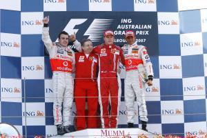 Fernando Alonso (ESP) McLaren MP4/22, Jean Todt (FRA) Ferrari Sporting Director,Kimi Raikkonen (FIN)