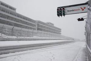 Snow bound track, Brands Hatch, Raceday