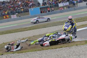 Rossi and De Puniet crash, Dutch MotoGP Race 2008