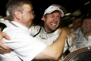 Ross Brawn (GBR) Team Principal, Brawn GP & Jenson Button (GBR) Brawn BGP001 Celebrate Maiden Win, A