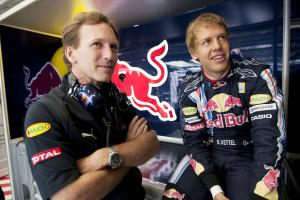 Christian Horner (NED) Red Bull Sporting Director, Sebastian Vettel (GER) Red Bull RB5, British F1,