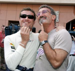 David Coulthard and Eddie Jordan compare their goatie beards