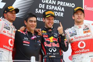 22.05.2011- Race, Sebastian Vettel (GER), Red Bull Racing, RB7 race winner, Lewis Hamilton (GBR), Mc