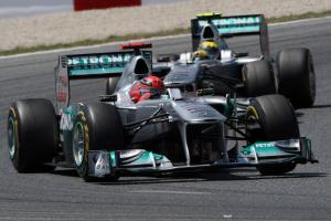 22.05.2011- Race, Michael Schumacher (GER), Mercedes GP Petronas F1 Team, MGP W02 leads Nico Rosberg