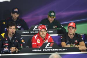 28.07.2011 Press Conference: Mark Webber (AUS), Red Bull Racing, RB7, Felipe Massa (BRA), Scuderia F