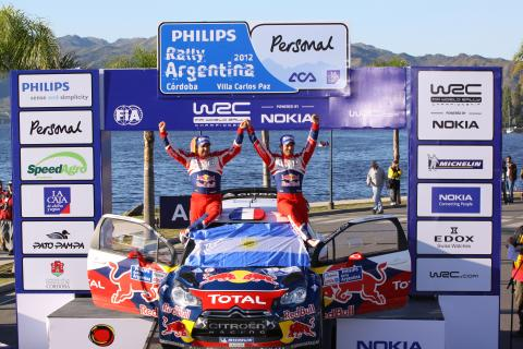 Podium, Sebastien Loeb (FRA) Daniel Elena (MON), Citroën DS3 WRC, Citroën Total World Rally Team