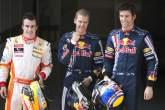 Fernando Alonso (ESP) Renault, Sebastian Vettel (GER) Red Bull RB5, Mark Webber (AUS) Red Bull RB5,