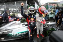 25.11.2012- Race, Sebastian Vettel (GER) Red Bull Racing RB8, world champion 2012 with Michael Schum